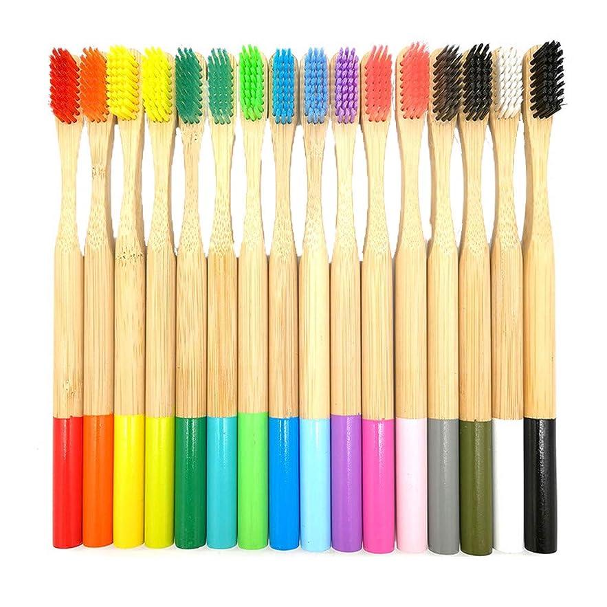 彼女の強化租界Lazayyii 成人 竹製の歯ブラシ オーラルケア 竹繊維 やわらかい歯ブラシ 人気16本 (マルチカラー)