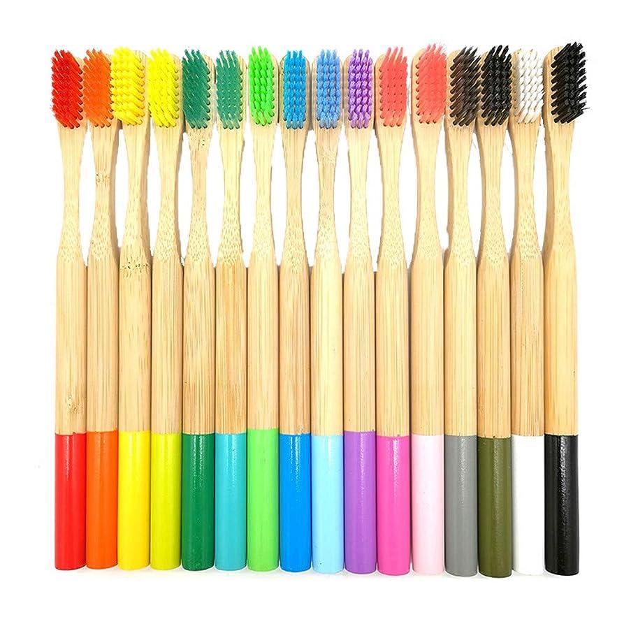 困難物質粒子Lazayyii 成人 竹製の歯ブラシ オーラルケア 竹繊維 やわらかい歯ブラシ 人気16本 (マルチカラー)