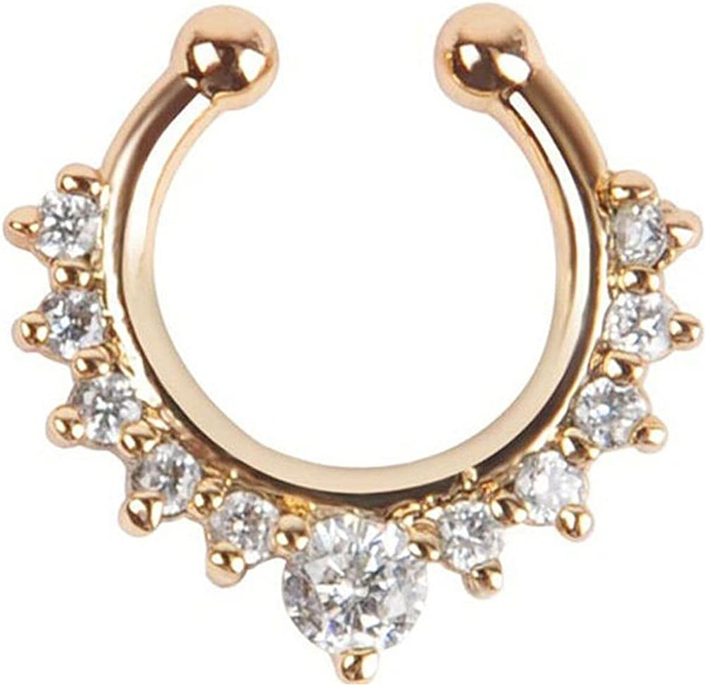 2019 Hot Crystal Septum Piercing Nose Ring Hoop For Women/'s Faux Clip Clicker