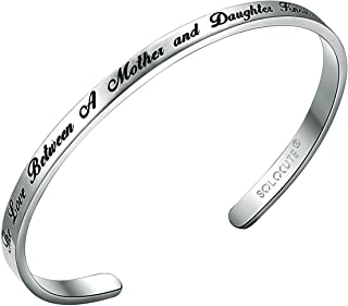 Solocute Gift for Women Inspirational Bracelet, The Love Between A Mother and Daughter Knows No Distance, Engraved Mantra Cuff Encouragement Jewelry