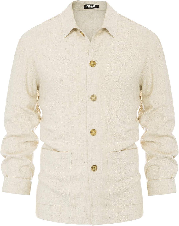 PJ PAUL JONES Men's Linen Shirt Jacket Long Sleeve Lightweight Casual Button Down Linen Shirt Jacket