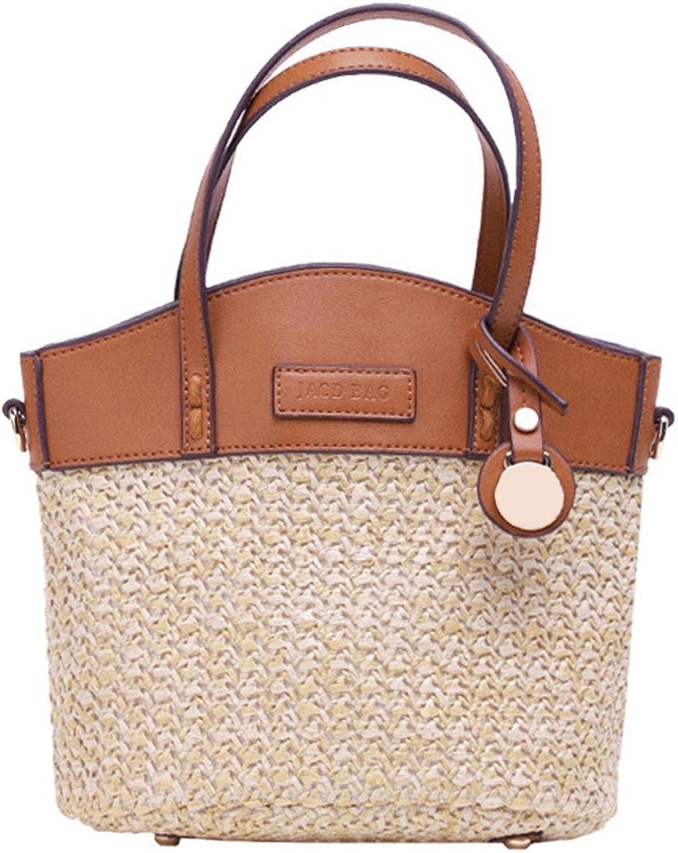 5b73fc3dc2285 Frauen Woven Bag Sommer Urlaub Strand Handtasche Schultertasche mit  F auml chern F auml chern F auml chern Platz Hellbraun 0