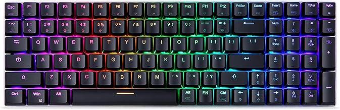 Teclado, Baugger K1 100 teclas RGB Teclado para jogos USB com fio e sem fio de 2,4 GHz teclado mecânico de modo duplo com ...