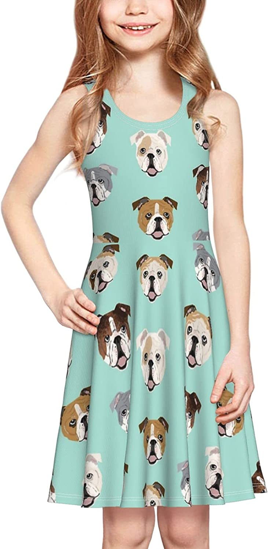 YhrYUGFgf Funny English Bulldog Dress Girl's Soft Stretch Casual Skirt Tank Dress