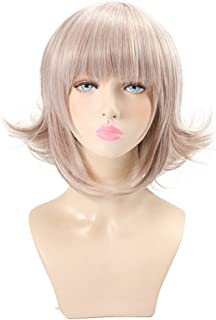 Xingwang Queen Anime 45cm Short Pale Pinkish Gey Cosplay Wig with Straight Bangs