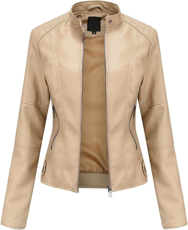Women's Slim Faux Leather Jacket Stand-Up Collar Zipper Solid Color Moto Biker Short Coat Outwear