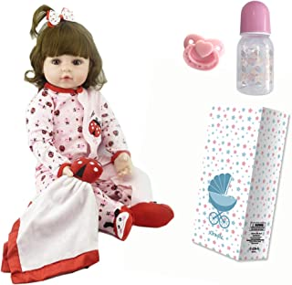 iCradle 18inch 45cm Reborn Dolls Handmade Lovely Soft Silicone Reborn Baby Girl Realistic Looking Toy for Kid Xmas Gift Ladybugs Outfit for Age 3+