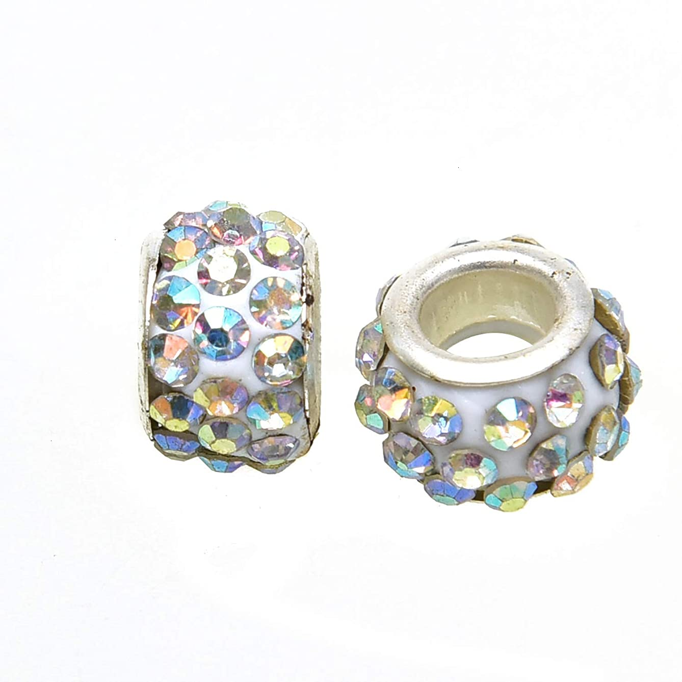 Monrocco 100 Pcs AB Color Rhinestone European Beads Large Hole Czech Crystal Spacer Beads Snake Chain Beads for Jewelry Making