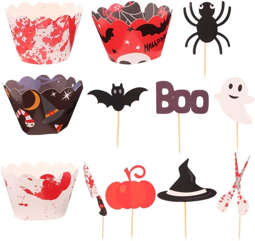 YXIUER 48pcs Halloween Theme Cake Pumpkin Picks Toppers Max Seattle Mall 73% OFF Cup
