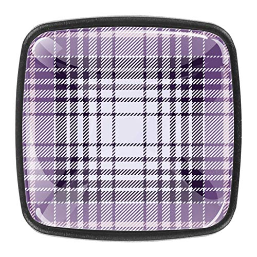 Traditional Square Cabinet Knob, Flat Black, Glass Surface, 4-Pack Plaid Purple Black