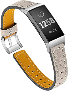 Jennyfly Bracelet en cuir compatible avec Fitbit Charge 4/3/3 SE, bracelet de montre de sport fin en cuir véritable avec b...