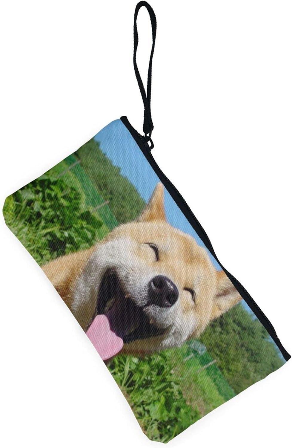 AORRUAM Shiba Inu smile Canvas Coin Purse,Canvas Zipper Pencil Cases,Canvas Change Purse Pouch Mini Wallet Coin Bag