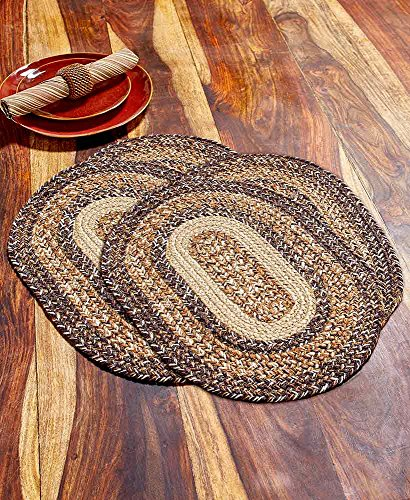 Better Trends Homestead Farmhouse Country Rustic Eco-Friendly Jute Braided Dining Table Placemats Tabletop, Set of 4, Heat Resistant, 13x18 (Espresso)
