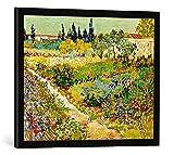 Kunst für Alle '–Fotografía enmarcada de Vincent Van Gogh Flores de jardín con Franja, Arlés, de i...