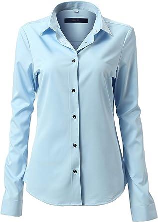 Mujer Camisa Básica Mujer Slim Fit - Camisa Blusa Casual de Fibra de Bambu Manga Larga Informal con Cierre de Botónl, Ideal para ...