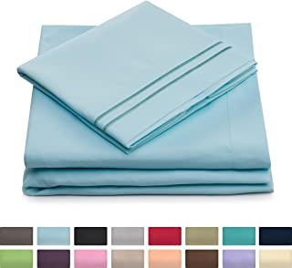 Split Queen Bed Sheets - Sky Blue - HIGHEST QUALITY Brushed Microfiber 1800 Bedding - Wrinkle, Fade, Stain Resistant - Hypoallergenic - 2 Fitted, 1 Flat, 2 Pillow Cases - Split Queen Sheets - 5 Piece