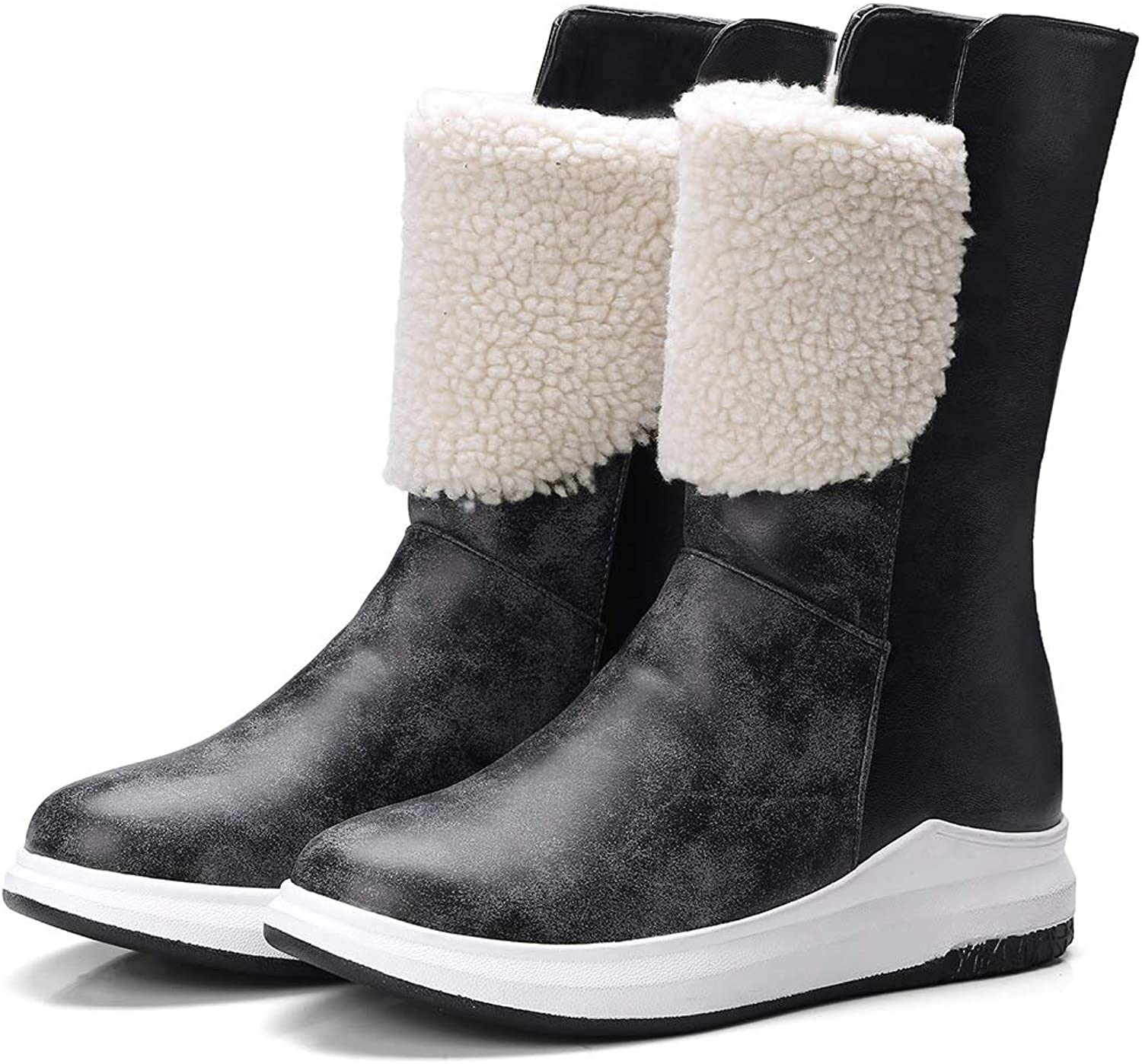Marhee Mid Calf Boot for Women Short Boot Snowboots Warm Short Flush