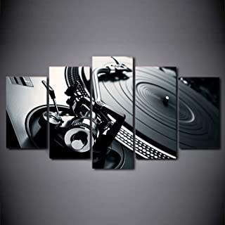 Fxwj Prints On Canvas Black and White DJ Club Mixer Turntable 5 Panells Modern Artworks Paintings Wall Art HD Print Picture Gift for Room Living Decor,B,150x80cm