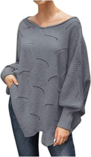LEKODE Sweater Women's Crewneck Solid Long Sleeve Knit