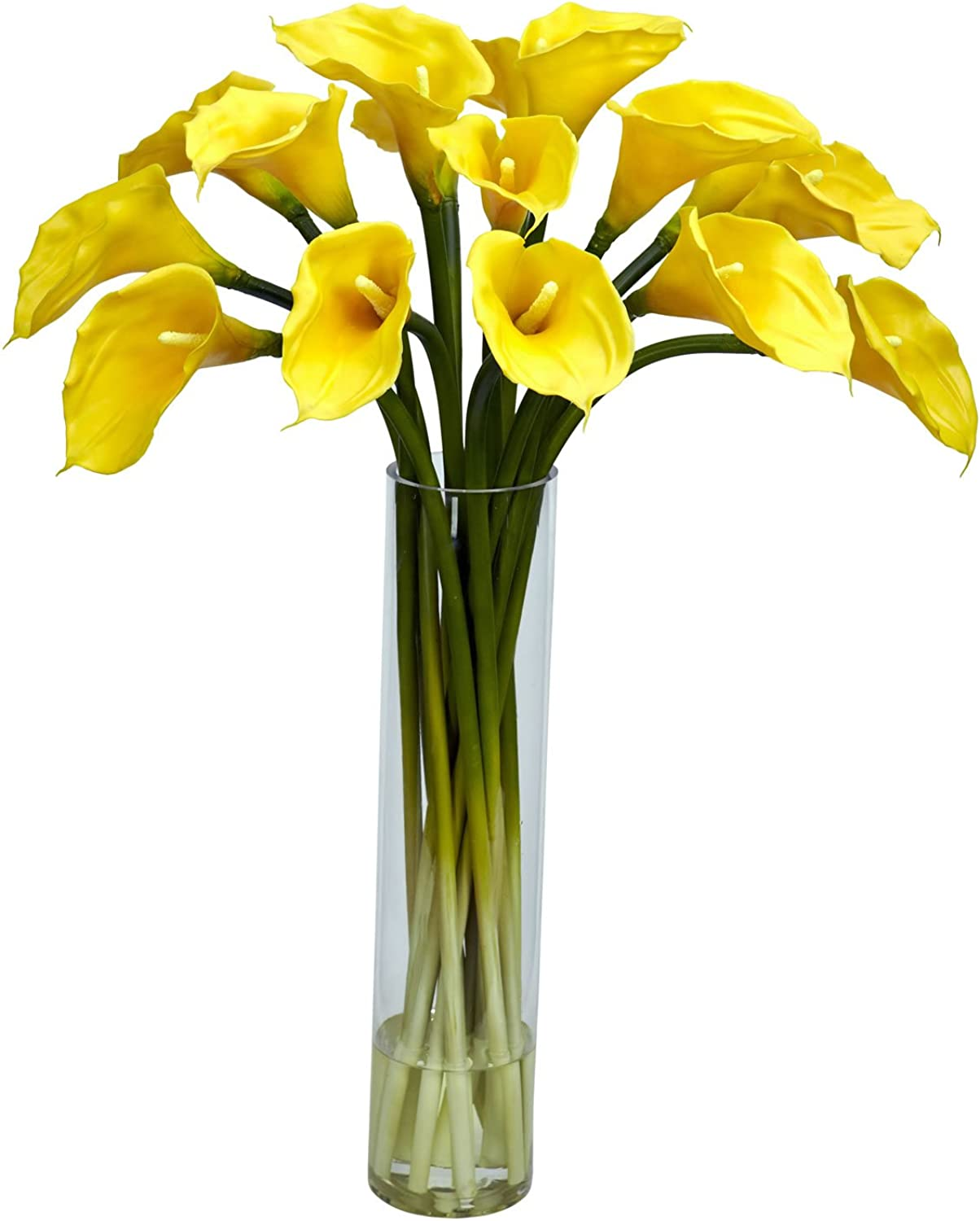 Nearly Natural 1251-YL Calla Lilly with Cylinder Silk Flower Arrangement, Yellow