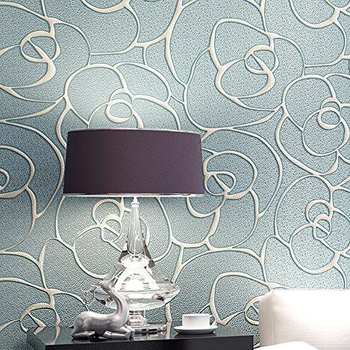 Rollo de papel tapiz KeTian para dormitorio sala de estar texturizado con profundo grabado en relieve sin tejido con flores en 3D minimalista y moderno azul claro 0.53m x10m=5.3m2