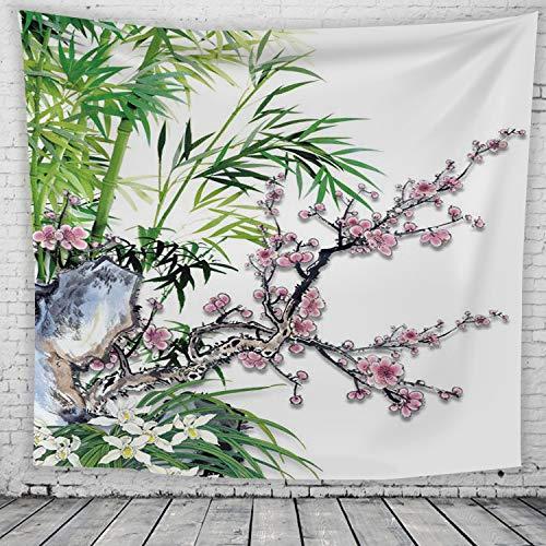 nobranded Tapiz de Pintura de Tinta de Estilo Chino Flor de Ciruelo japonés Decoraciones de imágenes Dormitorio Sala de Estar Dormitorio