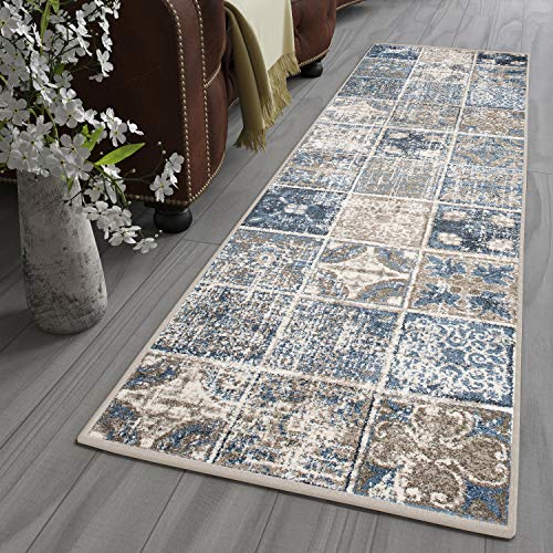 Tapiso Tibet Teppich Läufer Modern Kurzflor Creme Blau Marokkanisch Mosaik Floral Design Flur Schlafzimmer ÖKOTEX 100 x 250 cm