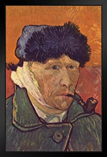 Vincent Van Gogh Self-Portrait with Bandaged Ear and Pipe Black Wood Framed Art Poster 14x20