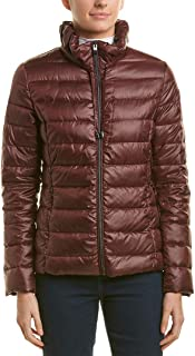 Womens Packable Soft Puffer with Ruffle Detailed Stand Collar