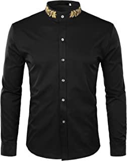 ZEROYAA Mens Hipster Gold Embroidery Mandarin Collar Slim Fit Long Sleeve Casual Dress Shirts