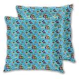 FULIYA Funda de cojín decorativa con diseño de animales de dibujos animados flotando en azul mar isla tropical, adecuada para cama completa, funda de cojín de 45,7 x 45,7 cm