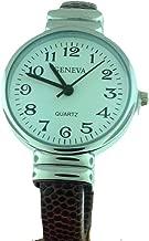 Elegant Quartz Textured PU Leather Brown Cuff Watch Clear dial Japan Quality Movement