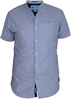 Mens D555 Henry Blue Check Short Sleeve Shirt RRP £29.99