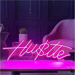 Custom Hustle LED Neon Sign, Signboard Wall decorationTransparent Acrylic Light Up Signs for Room Wall Decoration Wedding ...