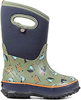 Bogs Kids' Classic David Rollyn Insulated Rain Boots Olive Multi 12