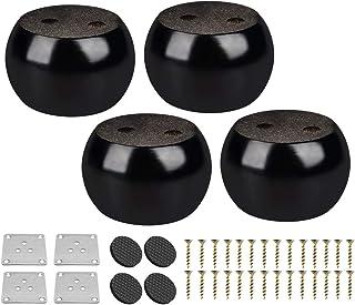Btowin - Patas para muebles de madera maciza 4 piezas modernas redondas de madera con placa de montaje y tornillos para s...