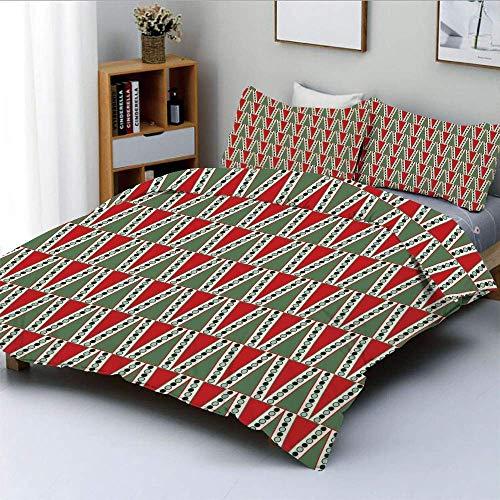 Juego de fundas nórdicas, motivos navideños tradicionales con lunares y árbol decorativo abstracto Juego de cama decorativo de 3 piezas Tamaño doble con 2 fundas de almohada, Reseda y Almond Green Red