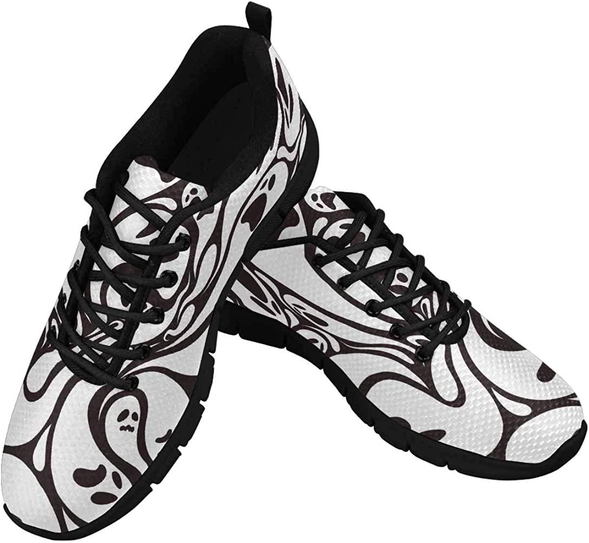 INTERESTPRINT Ghost Pattern in Black and White Women's Athletic Walking Running Sneakers Comfortable Lightweight Shoes