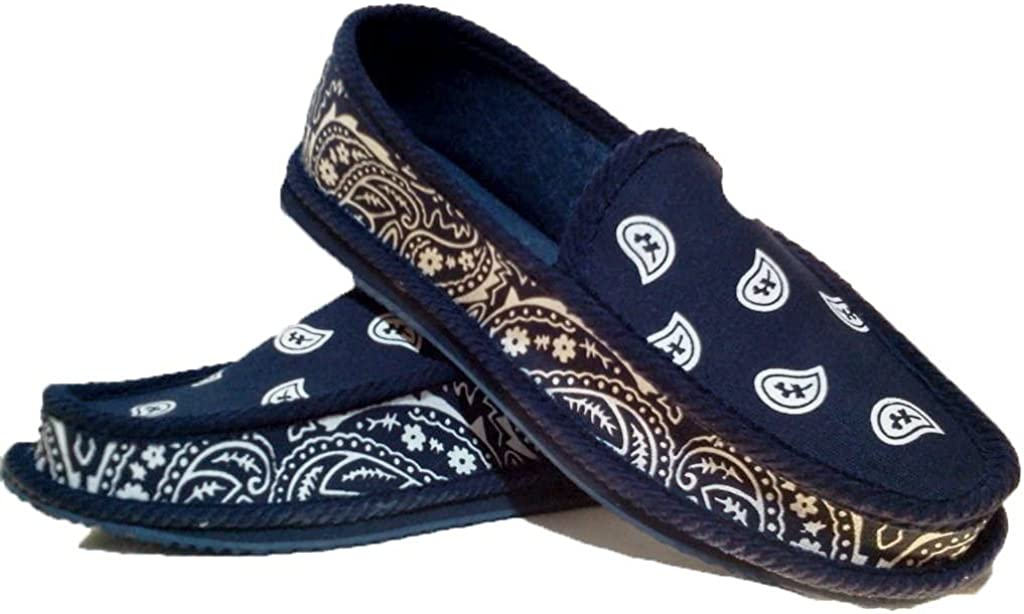 Navy Blue Bandana House Shoes Slippers New mail order Trooper Size 9 Max 59% OFF 11 8 10 12