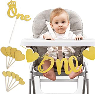 High Chair ONE Banner,1st Birthday Baby Party Decoration Glitter One Banner with Gold Cake Topper