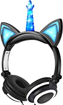 Headphones for Kids Boys,Unicorn Cat Ear Headphones with Led Glow for Girls Boys, Kids Earbuds Over On Ear Game Headset Light Up Wired Headphone Toddlers Tablet School Travel (Blue)