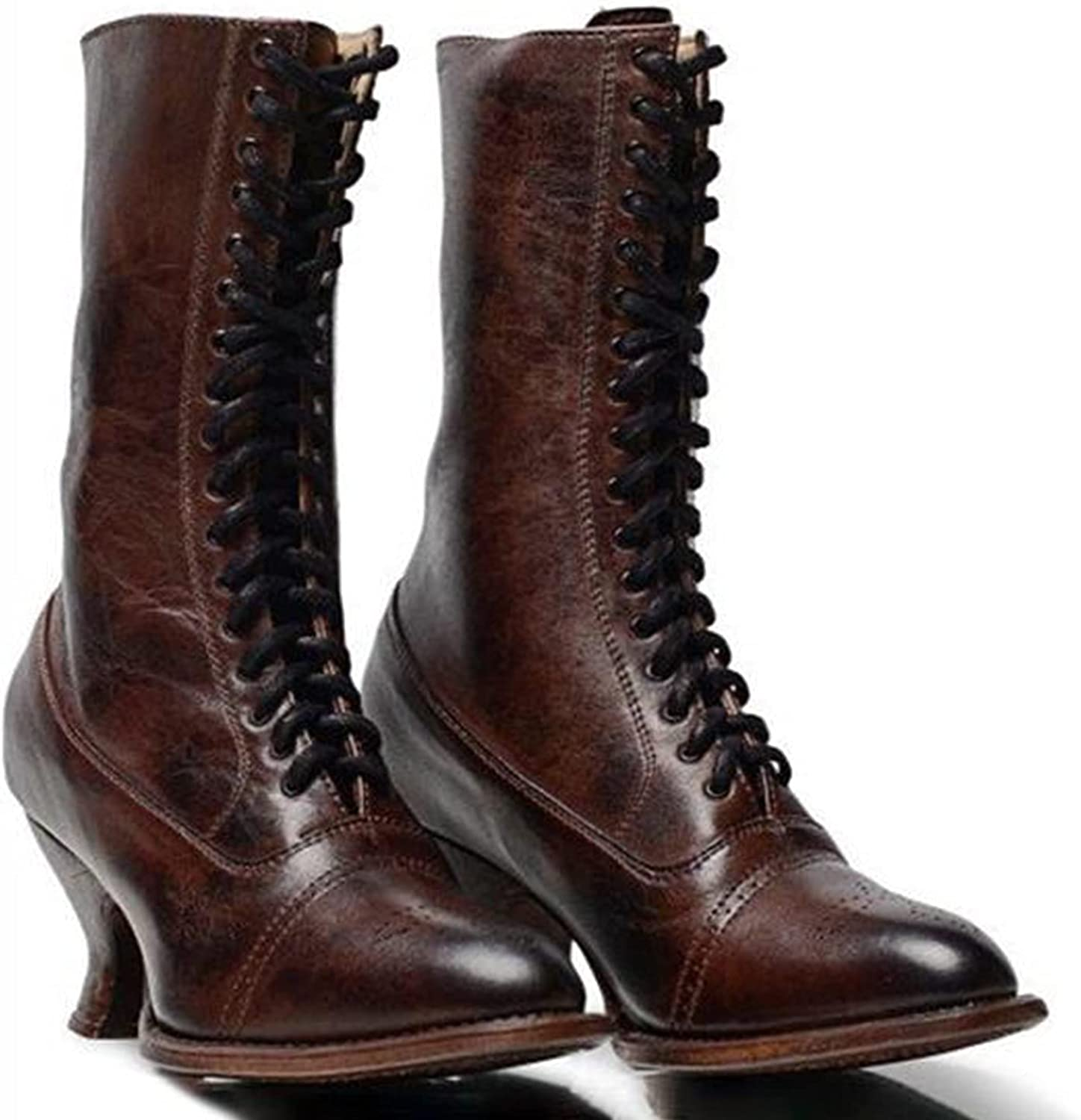 Ultra-Cheap Deals SaraIris Womens Challenge the lowest price of Japan Boots Mid Calf Lace-up Chunky Heel Gothic