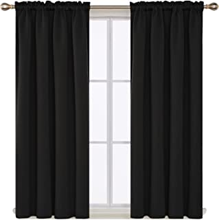 Deconovo Black Blackout Curtains Rod Pocket Curtain Panels Room Darkening Curtains for Window 52 W x 45 L Inch 2 Panels
