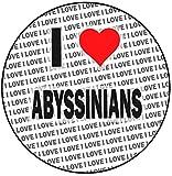 Decoración redonda para tarta con texto 'I Love Abyssinians', 20 cm