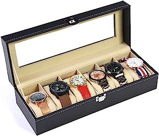 Tonando Watch Box for Men,6 Slot Watch Display Case Organizer Jewelry Storage Black