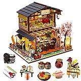 Yunji Kit de casa de muecas en miniatura vintage 3D modelo edificio japons sushi restaurante regalo de cumpleaos madera grande mueca casa muebles con cubierta antipolvo y accesorios