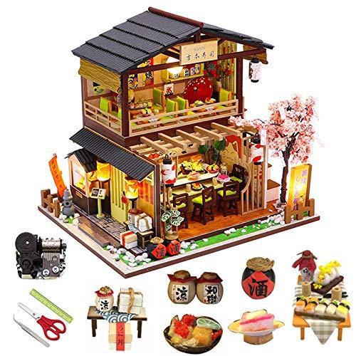 Yunji Kit de casa de muñecas en miniatura vintage 3D modelo edificio japonés sushi restaurante regalo de cumpleaños madera grande muñeca casa muebles con cubierta antipolvo y accesorios