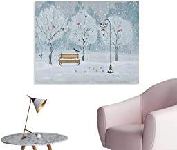 Anzhutwelve Christmas Wall Picture Decoration Snow Falling in The Park on a Cold Winter Day Birds Lanterns Xmas Season Picture Custom Poster Blue White W36 xL32