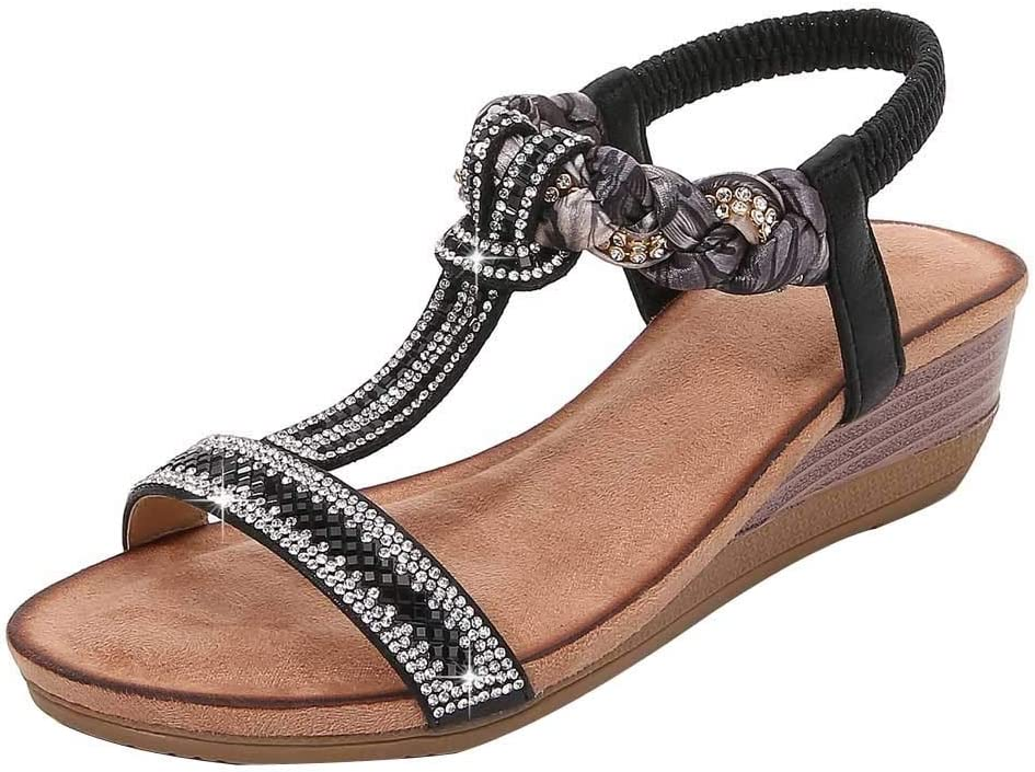 PLENTOP Women's Limited time cheap sale T-Strap Beaded Flower Flat Rhinestone OFFicial site Sandals Dr