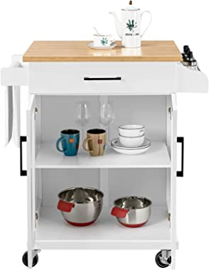 Yaheetech Kitchen Cart with Drawer, Kitchen Island on Wheels with Storage Rack & Cabinets, Microwave Cart for Kitchen wit